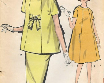 Advance 2885 1960s Maternity Dress Tunic and Skirt Vintage Sewing Pattern Bust 32 Sew Easy
