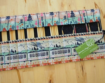 Roll Up Double Pointed Needle DPN & Circular Needle Organizer / Case / Holder - Tokyo Train Ride Fabric with Navy Sprinkles Lining