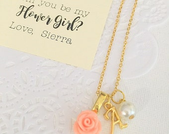 Gold plated, Flower girl necklace, rose necklace, flowergirl, childrens jewelry, personalized. Comes with free card and  ORGANZA bag.