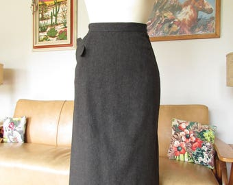 Vintage 1940s 1950s Classic Dark Grey Wool Pencil Skirt
