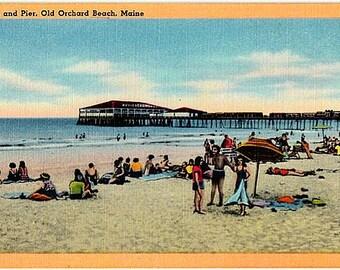 Vintage Maine Postcard - Beachgoers at Old Orchard Beach (Unused)