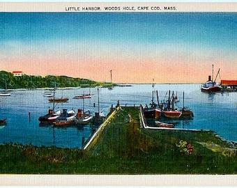 Vintage Cape Cod Postcard - Little Harbor at Sunset, Woods Hole (Unused)