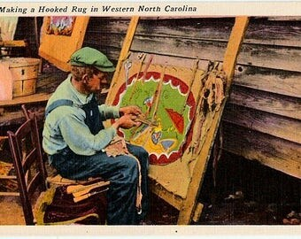 Vintage North Carolina Postcard - Rug Hooking in the Southern Appalachian Mountains (Unused)