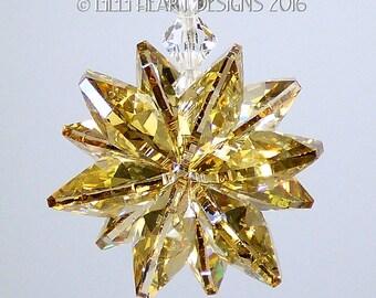 m/w Swarovski Crystal Limited Edition RARE Coated Octagon Suncatcher Star in Translucent Gold Starburst Car Charm by Lilli Heart Designs