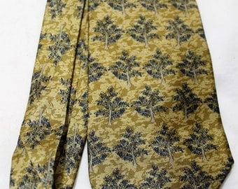 "Vintage UNICEF ""Tree of Life"" 4 Inch Wide Silk Necktie, Gold & Blue"