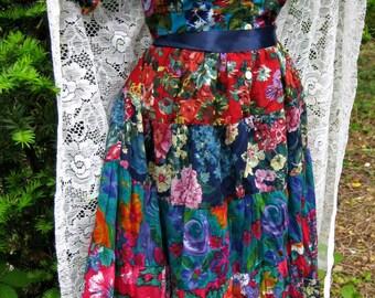 COTTON PATCHWORK dress, ladies medium, vintage 1980s 80s dress, Indian Cotton dress, Ladies grunge boho CIRCLE Skirt Dress, made in india