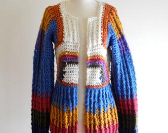 Boho chunky knit 60s / 70s festival hippie sweater cardigan sz. Medium / Large