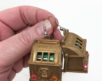 Vintage Miniature Slot Machine Earrings - Casino Jackpot - Las Vegas