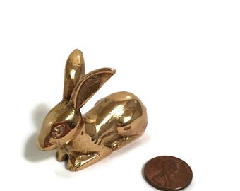 Vintage Small Brass Rabbit Figurine - Miniature Bunny