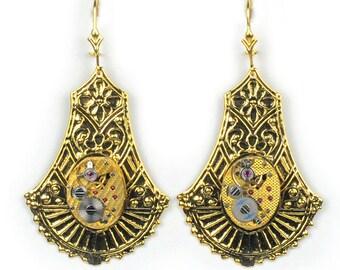 Vintage Gold Watch Steampunk Earrings