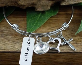 Bible Verse Bracelet, Cross Bangle, Bible Verse Jewelry, John 13:7, Personalized Bangle, Silver Bangle Charm Bracelet, Birthstone Bangle