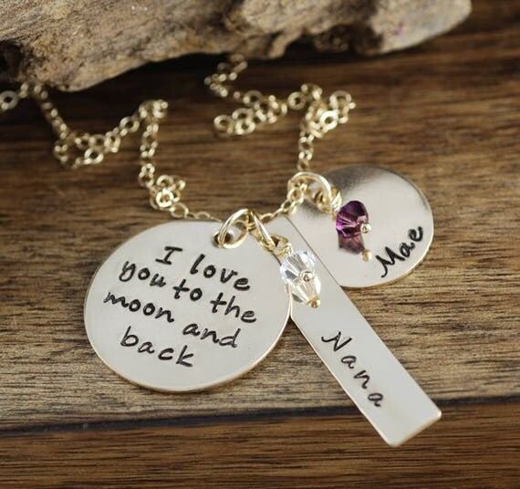 Personalized Love You to the Moon and Back Necklace, Hand Stamped Mommy Necklace, Personalized Mommy Jewelry,  Keepsake Necklace