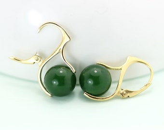 Canadian Jade Lever back earrings, gold plated sterling silver by art4ear, gift for her under 50 USD, free shipping in Canada, green jade