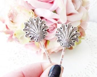Ox Silver Shell Hair Pins - Silver Seashell Bobby Pin Set - Shell Hair Accessory - Beach Shell Hair Pins - Beach Wedding - Bridal Hair