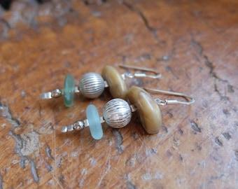Natural earrings - beach glass, beach pebble jewellery - handmade in Australia. Elegant, organic, beige, green, silver