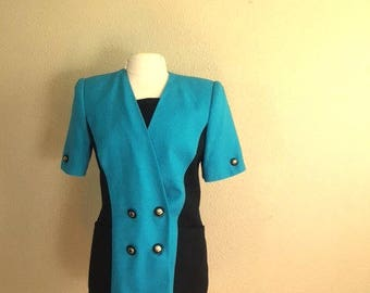 Vintage BLUE And Black COLORBLOCK Shirt / 1980s Two Tone Button Blouse / Womens Size Large