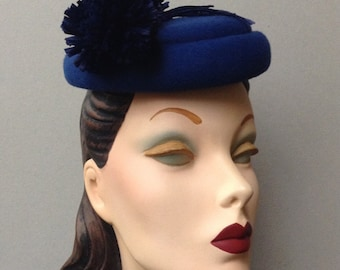 Royal Blue Wool Felt Beret Pillbox Hat with Two Tiered Crown and Blue Pom Pom Flower Trim