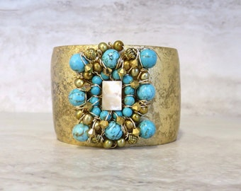 Turquoise & Gold Cuff Bracelet - Gold Leaf Cuff with Opulent Turquoise Center  by Sharona Nissan Unique Holiday Gift Ideas Under 75 For Her