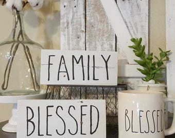 Family or Blessed Pallet Sign | Farmhouse Style, Home Decor, Rae Dunn