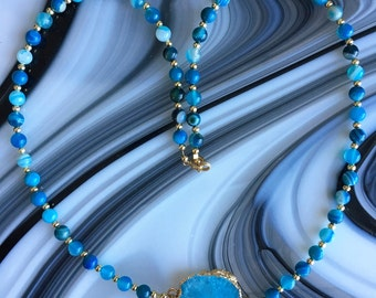 Matte Drusy Pendant, Blue Agate Gemstone Beaded Necklace