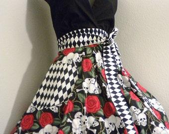 Skull & Roses Harlequin Apron