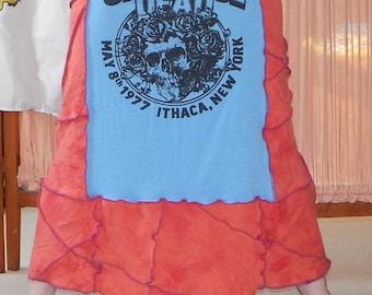 Grateful Dead Ithaca Cornell T Skirt Tie Dye Festival Hippie Shirt OOAK Patchwork