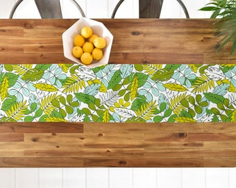 Tropical Table Runner // Table Linens // Green // Aqua // Kitchen Decor // Modern Tropics Design // Tropical Leaves // Table Decoration