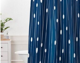 Navy Blue Shower Curtain // Bathroom // Entangled Design // Modern Geometric // Shower // Bathroom Decor // Oval Dot Pattern // Minimalist