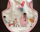 Bib, bapron, baby bib, boy bib, girl bib, Sarah Jane fabric, terry bib, tie bib, waterproof bib, reversible bib, toddler bib, 6-18 months