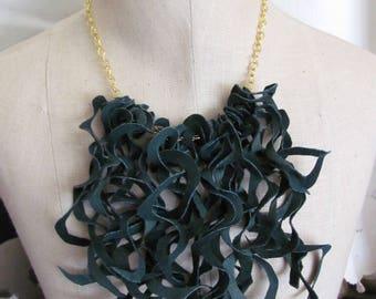 Beautiful Dark Green Soft Suede Leather Curly Fringe Bib Necklace Choker (#30)