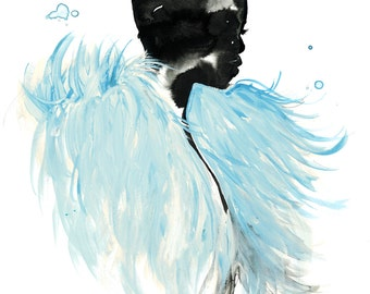 Ice Blue Feathers, print from original watercolor and gouache fashion illustration by Jessica Durrant