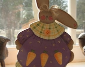 "Handpainted Wooden - ""Bunny of the Woods - Cassie Carrots"""