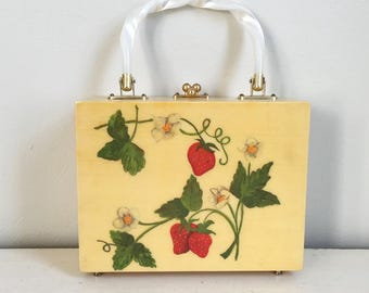 Vintage 1960s Novelty Print Strawberry Wood Box Hand Bag Purse with Red White Polka Dot Lining
