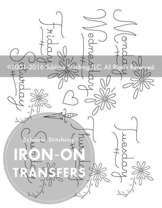 Dainty days iron on hand embroidery transfer patterns