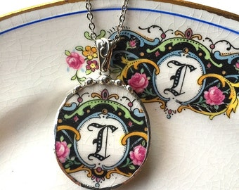 Broken china jewelry necklace pendant L initial monogram made from antique broken china. recycled china