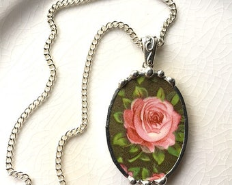 Beautiful pink rose on mossy green, china pendant made from a broken antique plate, broken china jewelry necklace by Dishfunctional Designs