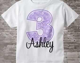 Third Birthday Shirt, Light Purple 3 Birthday Shirt, Any Age Personalized Girls Birthday Shirt Light Purple Age and Name 06162012b