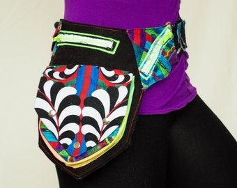 Upcycled Fabric Utility Pouch Belt- Galaxy, Scraps, Circus, Rave, Burning Man, Kandi, Swirl