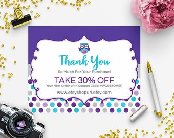 SALE 30% OFF Thank You Card - Business Thank You Card - Promotional Card - Branding - Packaging - Owl 16B-ill