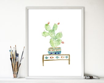 Cactus art print, watercolor cactus, cactus print, South west inspired art, cactus plant in decorative planter, home decoration, Cactus art