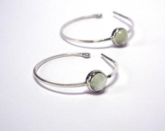 Green Sterling Silver Hoop Earrings with Prehnite Gemstone