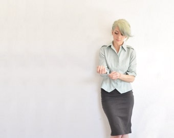 mint green army tailored blouse . government secretary fitted shirt .medium