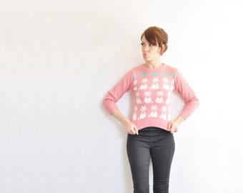 cat lady in the making sweater . pastel pink white kitten mouse print knit pullover .extra small.xs