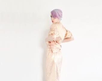 rose gold lame dress . large BOW tie belt . 2 pc metallic matching set .large .sale