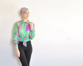 psychedelic pattern Jantzen blouse . sheer acid trip pond print shirt .small.medium .sale