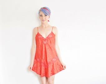 red valentine chemise dress lingerie . sheer lace panels . scalloped mini slip .large .sale s a l e