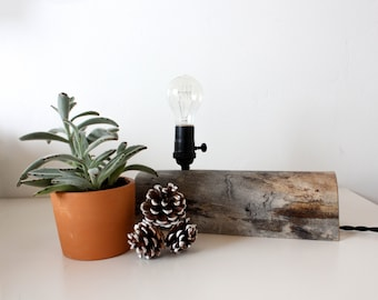 Reclaimed Wood Lamp / log furniture, log cabin decor, rustic home decor, reclaimed log, desk lamp, tree branch decor, cabin furniture