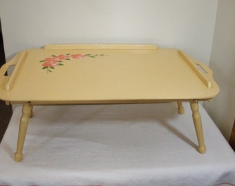 Vintage Yellow with Hand Painted Flowers Wood Bed Tray