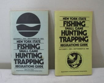 Vintage Pair of New York State Hunting Fishing Trapping Regulation Guides