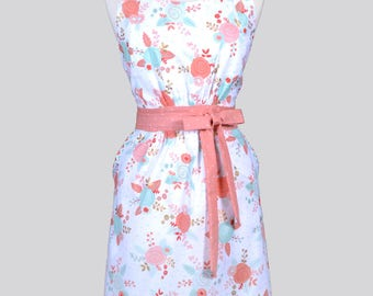 Classic Womens Full Apron . Peach and Aqua Floral on White Mothers Day Retro Vintage Style Cute Kitchen Apron with Pockets and Fitted Bodice